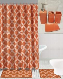 19PC COMPLETE BATHROOM BATH MATS SHOWER CURTAIN WITH CERAMIC ACCESSORY SET HONEY