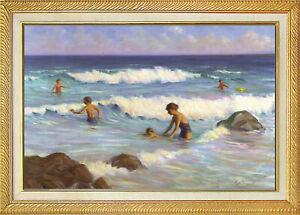 Cape Cod OCEAN SURF Oil Paint Framed 18x28 Giclee Canvas **SALE