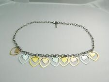 VTG Stainless Steel MILOR China Gold & Silver Tone Dangle Heart Necklace Choker