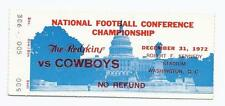 1972 NFC Championship Ticket Stub Cowboys @ Redskins