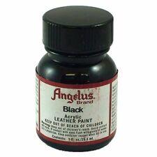 Angelus Acrylic Leather Paint Water Resistant BLACK- 1.oz bottle