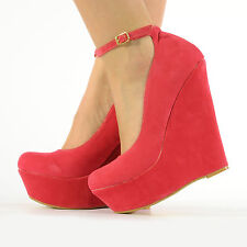 NEW FASHION PLATFORM HIGH HEEL WEDGES LADIES WOMEN ANKLE STRAP SANDALS SIZE 3-8
