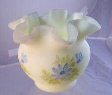 "Fenton Custard Satin H P BLUE FLOWER Daisy Crimped 4"" Vase Signed N Kuhne Lovely"