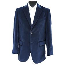 """Navy Blue Velvet Jacket 46"""" Long"""