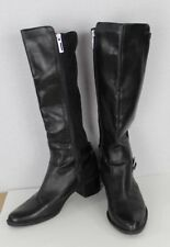 Calvin Klein Herminia women's black leather fabric riding boots size 9M