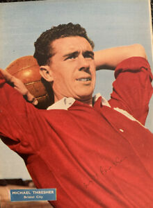 Signed Michael Fresher Bristol City FC 1950s Football Autograph Poster