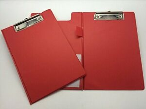 A5 Clipboard Fold Over PVC Document Pen Holder Red