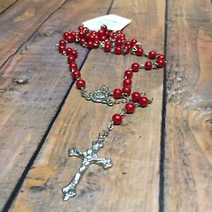 Rosary Beads Necklace Red Silver Metal Prayer Rosaries Our Lady Catholic