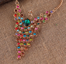 Women Jewelry Betsey Johnson Charm Hot Pendants Rhinestone Gift Peacock necklace