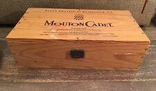 VINTAGE WINE CRATE Box Mouton Cadet Box Nice Size Clean Rustic Storage  #297