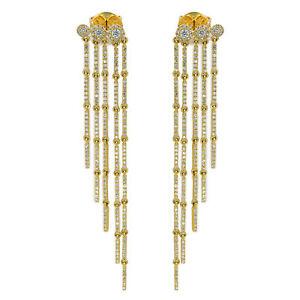 14K Yellow Gold Diamond 1.18cttw Fringe Drop Earrings