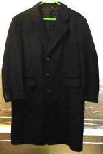 John Weitz Men's 48 Wool Blend Overcoat Coat Dark Charcoal Black