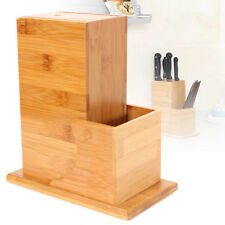 Bamboo Wood Knife Utensil Holder Block Storage Rack Kitchen Organizer Tools