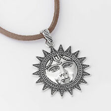 2 Pcs Antique Silver Large Sun Face Charm Pendants For Necklace Jewelry Making