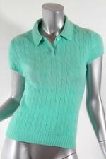 RALPH LAUREN Womens Short Sleeve Lightweight Cable Knit Polo Shirt Top Sweater M