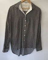 TRENERY beautiful Striped Button Front Shirt Blouse Size M