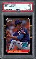 GREG MADDUX ROOKIE CARD 1987 Donruss #36 Graded PSA 7 NM Cubs Braves MLB HOF