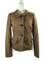 J Crew 4 EC Brown Wool Jacket Blazer Stretch Wool Leather Buttons Ruffle Accent