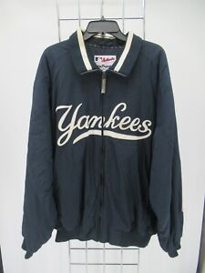 K8576 VTG Majestic MLB New York Yankees Zip-Up Windbreaker Bomber Jacket Size XL