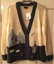 BNWT Topshop Cardigan Size 14 Cream Green Sheep House RRP £65