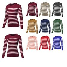 FashionOutfit Women's Round Neck Striped Pullover Long Sleeve Top
