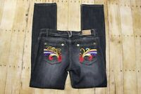 Coogi womens jeans embroidered colorful denim dark wash distressed 32x32 stretch