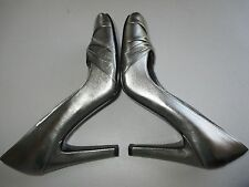 Nine West Shamira Pewter/Silver Leather Pumps Heels Shoes SIZE 7.5M Excellent!
