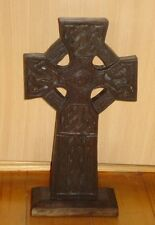 Fair Trade Hand Carved Wooden Freestanding Celtic Christian Cross wood knotwork