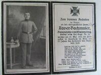 RARE WWI German Death Card, KIA in FRANCE, 1915, Nice Spike Helmet