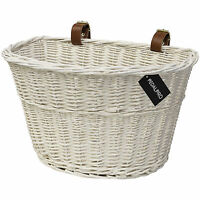 PEDALPRO WHITE WICKER BICYCLE BASKET WITH LEATHER STRAPS BIKE/CYCLE SHOPPING