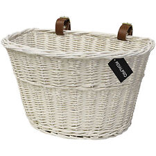 PEDALPRO WHITE WICKER BICYCLE BASKET WITH FAUX LEATHER STRAPS BIKE/CYCLE BIKING