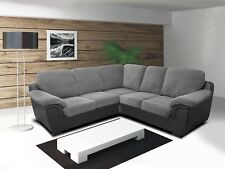 AMY - CORNER SOFA - GREY/BLACK - CORD AND FAUX LEATHER