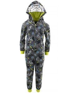 Sleep On It Boys Astronaut Gray Hooded Fleece Long SleeveOne-Piece Pajamas