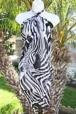 BLACK WHITE ZEBRA ANIMAL PRINT SHEER SARONG COVERUP SHAWL SCARF DRESS WRAP