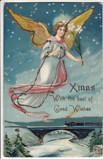 Xmas with the best of Good Wishes, Christmas, Glitter, Flying Angel, Flowers