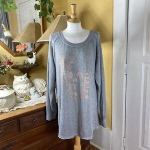 Torrid 2 2X Metallic Skull Print Tunic Heather Gray Sweatshirt Top Raglan Sleeve