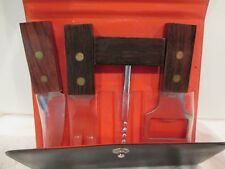 VINTAGE TRAVEL BAR SET TOOLS WOOD HANDLES CORK SCREW BOTTLE OPENER KNIFE FORK