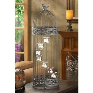 "Large 28"" Birdcage Spiral Staircase Candle Holder Candelabra Tealight Home Decor"