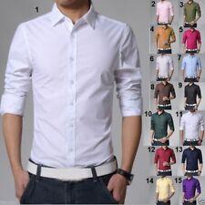 Fashion Men's Slim Fit Shirts Stylish Luxury Casual Long Sleeve Dress 15 Colors