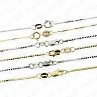 "10K Solid Yellow White Gold Box Chain Necklace 0.6mm, 0.8mm, 1mm 16"" - 30"""