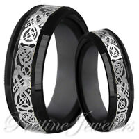 His & Her Black Tungsten Carbide Silver Celtic Dragon Mens Ring Wedding Band Set