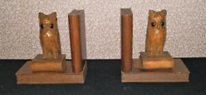 Antique Pair Of Wooden Carved Owl Book Ends W/ Glass Eyes