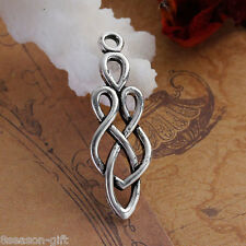2PCs Silver Tone Hollow Celtic Bow Drop Copper Pendants 3.5x1.2cm