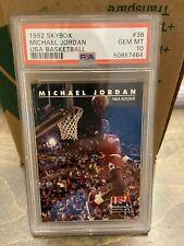 1992 Skybox MICHAEL JORDAN USA Basketball #38 Bulls PSA 10 GEM MINT Low Pop🔥📈
