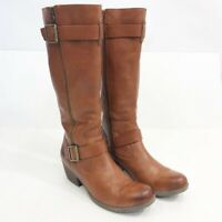 Korks by Kork-Ease Tall Leather Riding Boots Womens 8.5 Brown Leather Zip Side