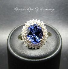9ct Gold AA Tanzanite and Diamond Cluster Ring Size L 2.5g 3 carats