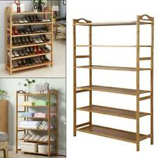 6Tiers Wood Bamboo Shelf Entryway Home Storage Shoe Rack Organizer Furniture