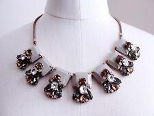 J.Crew Crystal and Stone Row Necklace Jewelry Grey Rhinestone Brass Gold $145