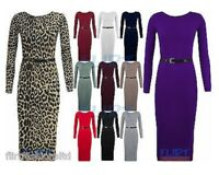 Midi Dress Jersey Belted Bodycon Stretch Top Maxi Dresses Long Ladies Womens UK