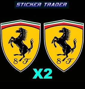 Ferrari Badge Vinyl Sticker x2 Suit Front Guard Door Race Car Trailer ToolBox